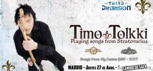 TOLKKI + THIRD DIM3NSION será en la sala Copérnico Comunicado sobre el cambio de sala del concierto deTimo Tolkki Tour – Songs From My Careeren Madrid: Queremos informar que el […]