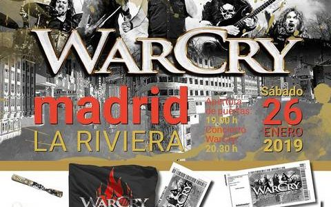 """WarCry – La Riviera, Madrid Sábado 26 de Enero de 2019 Entradas ya a la venta ✔Entrada General ✔Entrada """"Premium"""": entrada General + pack exclusivo Madrid (llavero + pulsera + […]"""