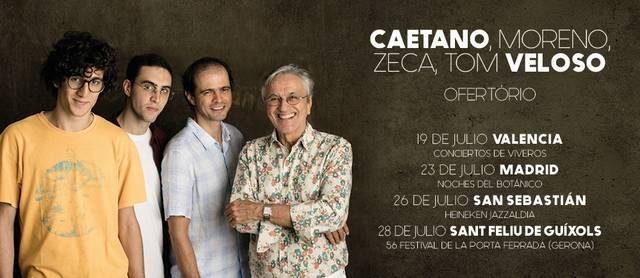 """CAETANO VELOSO ACTUARÁ ESTE VERANO EN VALENCIA, MADRID, SAN SEBASTIÁN Y GERONA, JUNTO A SUS HIJOS EN EL ESPECTÁCULO """"OFERTÓRIO: CAETANO, MORENO, ZECA, TOM VELOSO"""" Elbrasileño Caetano Velosovuelve a sorprendernos […]"""